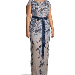Adrianna Pappel Floral Embroidered Gown
